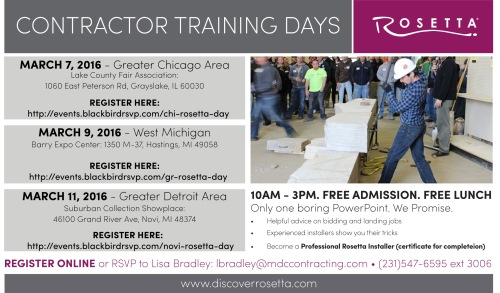 Rosetta of Michigan Contractor Training Flyer